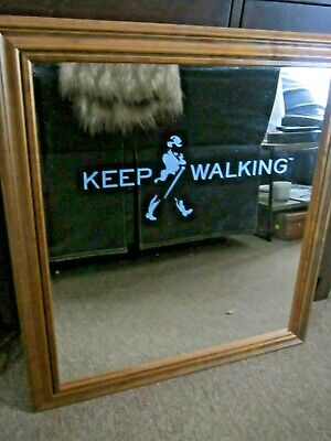 "Unique Large Johnnie Walker Etched ""KEEP WALKING"" Framed Bar Mirror"