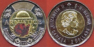 Brilliant Uncirculated 2018 Canada Armistice Color 2 Dollars From Mint's Roll