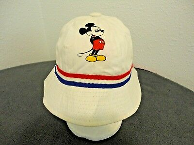bc058d3f Vintage Mickey Mouse Red,White &Blue Sun Hat Walt Disney World Productions  /Med