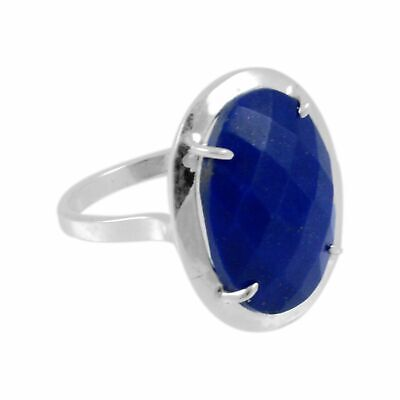 Faceted-Lapis Lazuli Solid 925 Sterling Silver Ring  Jewelry Size-7 FSR-2983