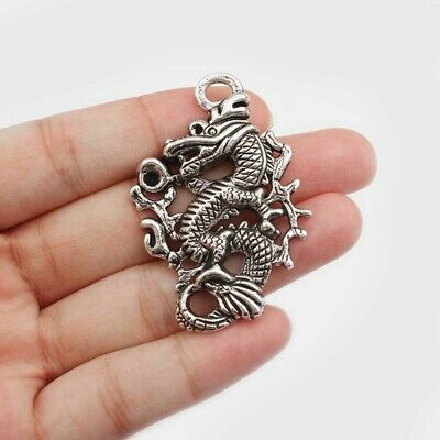 12pcs Vintage Silver Tone Alloy Chinese Dragon Round Charms Pendant 51176