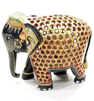 Mother baby Elephant Statue - Wooden Sculpture - Hand Painted Figurine