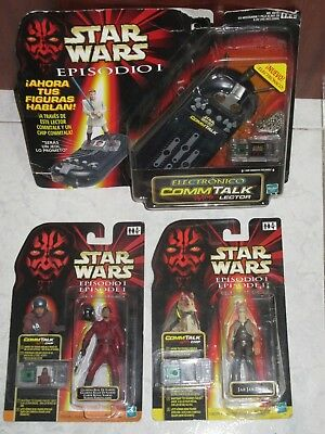 STAR WARS :EPISODE I - 2 FIGURES Hasbro 1999 + Electronic COMM TALK Brand New