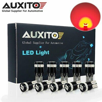 10X AUXITO T10 194 168 W5W RED LED Interior License Number Plate Side Light Bulb