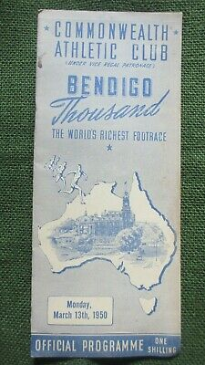 1950 Bendigo Thousand Footrace Commonwealth Athletic Club Official Programme.