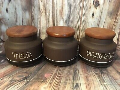 HORNSEA POTTERY CONTRAST tea sugar plain storage jar canister set of 3