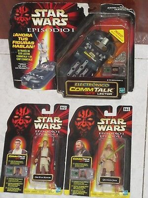 STAR WARS :EPISODE I - 2 FIGURES Hasbro 1999 : Obi-Wan & Qui-Gon + COMM TALK New