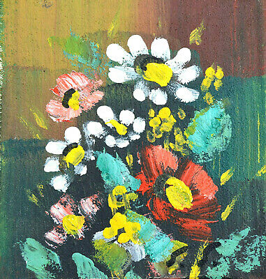 Scandinavian Impressionism Original Oil Painting Wild Flowers Finnish Signed vtg