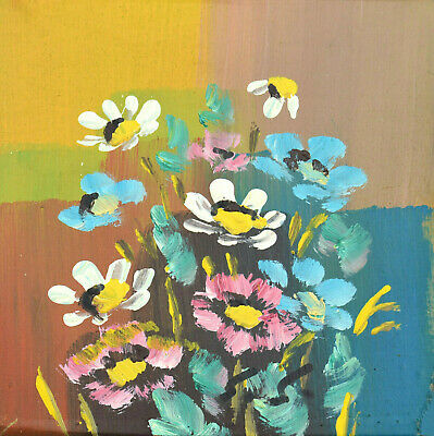 Scandinavian Impressionism Original Oil Painting Wild Flowers Signed Finnish vtg