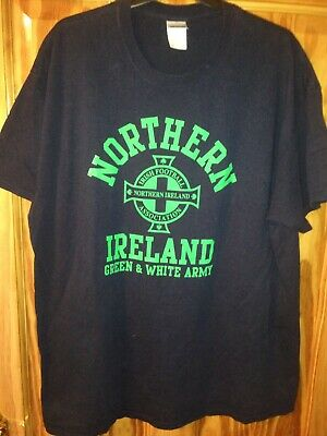 Northern Ireland Green And White Army T Shirt XL Navy