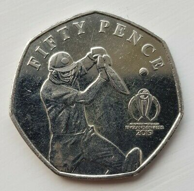 2019 50p coin ICC Cricket World Cup Isle Of Man Circulated Coin