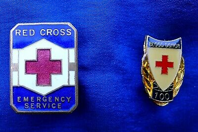 2 X Red Cross Badges; 100 Litre Blood Donor: Red Cross Emergency Service. Stokes