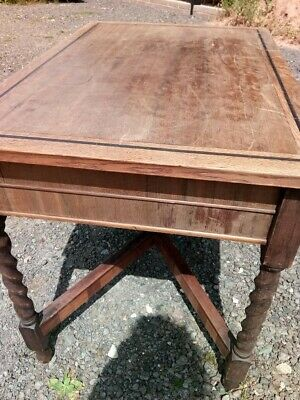 Vintage antique wooden occasional table barley twist inlaid