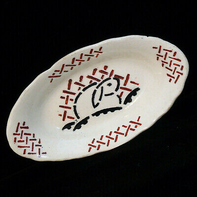 French Childs Relish Dish ~ Rabbit Lapin 1905 Red Black Stencil Easter Bunny