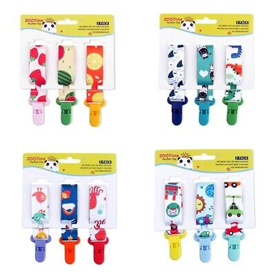 3pack Cartoon Pacifier/Soother Clips Fits All Pacifiers & Baby Teething Toy #wcl