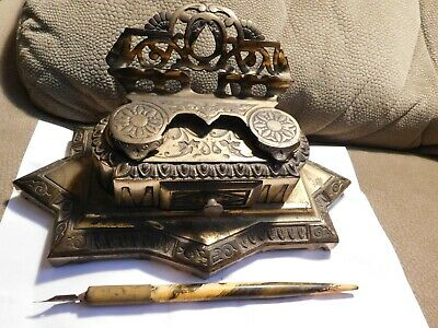 Antique Bradley & Hubbard #6062 Cast Iron Double Ink Well with Drawer Rare Piece