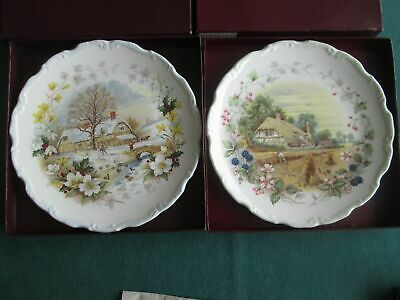 """Royal Albert  Autumn And Winter  Collectors Plates 8.5"""" Wide Boxed"""