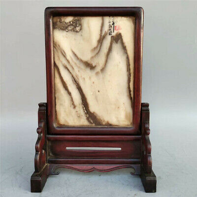 Collection Chinese Rosewood inlay Marble landscape screen statue