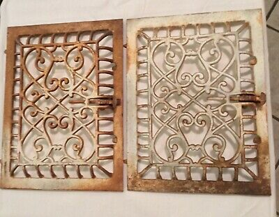 Antique Victorian Cast Iron /Ornate Floor Grate (Lot Of 2) Architectural Beauty