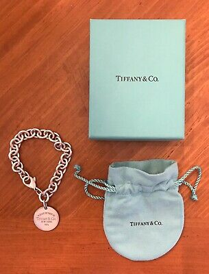"""Please Return To Tiffany & Co. Sterling Silver Round Tag Chain Bracelet 7.5"""" Box"""