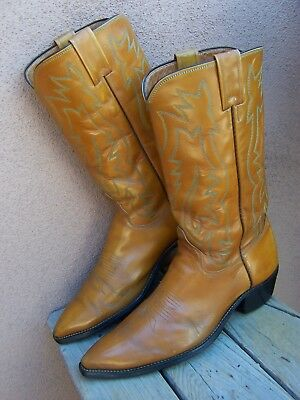 JUSTIN COWBOY BOOTS Tan Brown Leather Mens Size 9 D Country