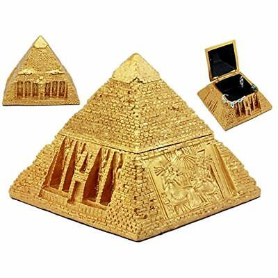 Ebros Decorative Boxes Golden Ancient Egyptian Gods Carved Pyramid Hinged Statue