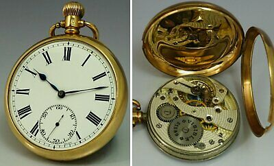 Antique 9ct gold 0.375 ALD cased 1924 pocket watch Swiss made Movement 9k