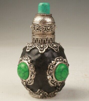 Vintage China Tibetan Silver Kallaite Handmade Snuff Bottle Old Collection
