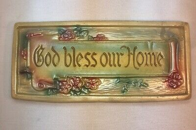 Vtg 1930-40's GOD BLESS OUR HOME Chalkware Carnival Prize Religious Wall plaque