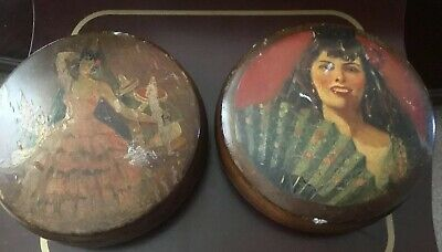 2 Vintage hand painted wooden treasure Round box  5 inches  Diam 1.5 Inches Hei