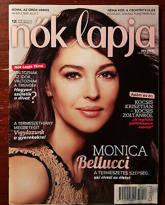 Monica Bellucci on front cover & article pages Hungarian Magazine, March 2018.