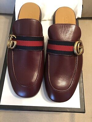 928ee9a2e GUCCI MEN PRINCETOWN Kings Double Gg Slippers Loafer, Dark Red, 13Us ...