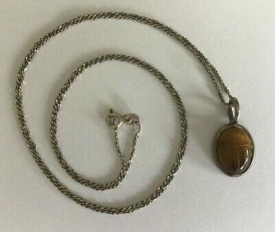 """Vtg Egyptian Revival 925 Silver Carved Tigers Eye Scarab Pendant Necklace 24"""""""