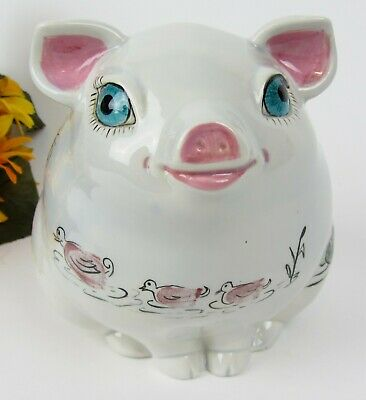 Extra Cute Vintage Ceramic Hand Painted Piggy Coin Bank ~ Pig Pottery Porcelain