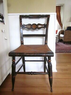 Antique Hitchcock side chair, black with gold stencil design,1900's