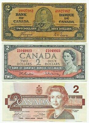1937 1954 & 1986 Canada Canadian 2 ( Two ) Dollar Bank Notes