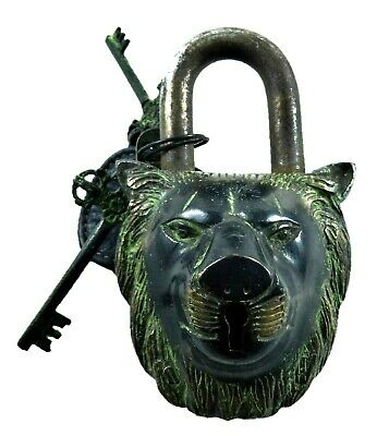 Tiger Shape Vintage Antique Finish Handmade Brass Solid Padlock With Unique Keys