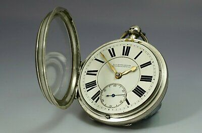 1898 heavy Victorian antique 0.935 sterling silver Lever Pocket watch working
