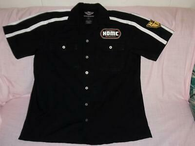 Nwot Mens Harley Davidson Casual Dress Shirt-Black/White Graphic-Embroidered-L