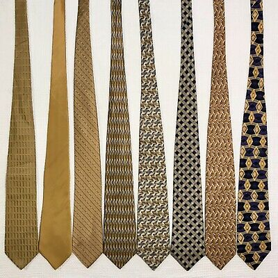 8 Men's Ties Gold Yellow Zylos Beene Bank VanHeusen Talbott Vtg Silk Tie Lot