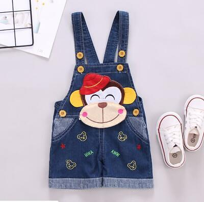 Kids Boys Girls Trousers Bib Pants Soft Jeans 1-4 Years Denim