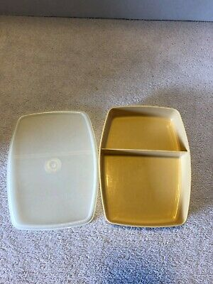 Vintage Tupperware Divided Lunch Snack Container #813 almond with Seal Lid #814