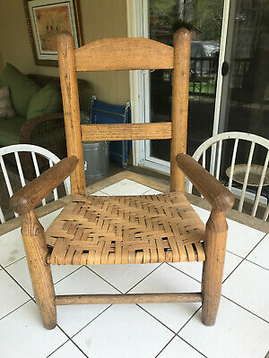 Primitive Child's Ladder-Back Caned-Bottom Chair