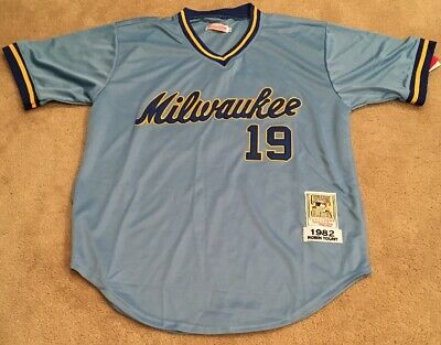 Robin Yount Milwaukee Brewers Retro Throwback Jersey Mens XL NWT 1982 Road Blue