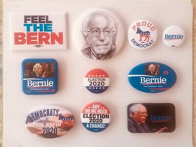 Bernie Sanders Set Of 10 Pin Back Buttons