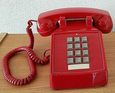 Vintage Red ITT 2500 Touch Tone Desk Phone Used Tested and Working