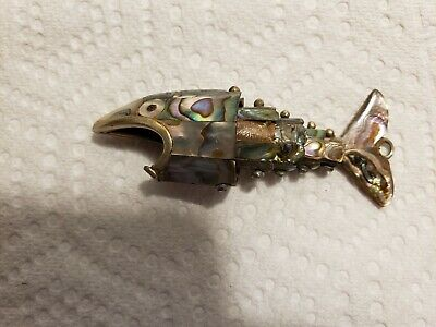 Vintage Abalone Mother Of Pearl Shell Articulating Fish Bottle Opener