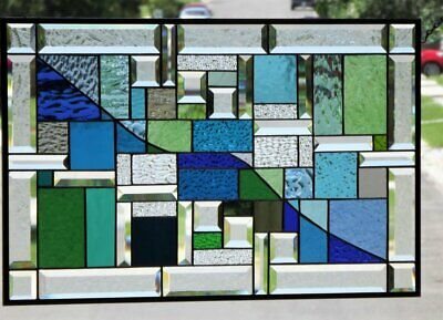 """• Opposite Attraction • Beveled Stained Glass Window Panel≈ 27 3/8"""" x 17 1/2"""""""
