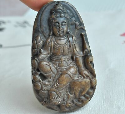 Chinese ancient old hard jade hand-carved pendant necklace ~Guanyin M52
