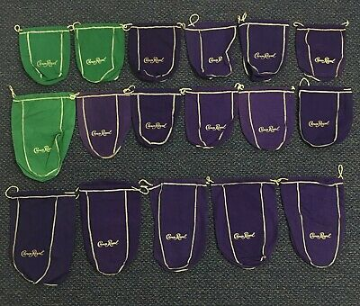 Lot of 17 Crown Royal Green Purple Gold Trim Drawstring Bags 6 Large 11 Medium